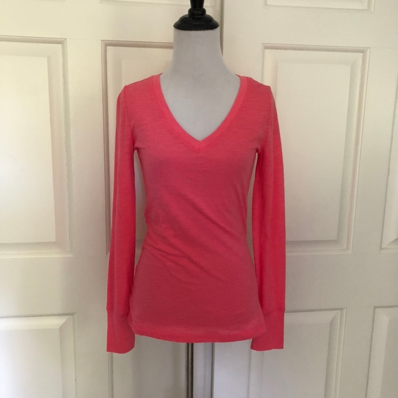 93358fa1 Mossimo Supply Co. Tops | New Pink Long Sleeve Vneck Slub Knit ...